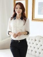 (สีขาว)เสื้อผ้าแฟชั่นเกาหลีทำงานออฟฟิศ เสื้อแขนยาว ปกและปลายแขนเป็นหนัง ไหล่ลายเสื้อ กระเป๋าหน้า กระดุมหน้า เสื้อสีขาว( ใหม่ พร้อมส่ง) ร้าน LadyShop4U