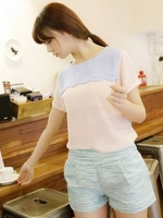 (สีชมพู)เสื้อแฟชั่นเกาหลี สีชมพู ผ้าชีฟอง คอกลม แขนสั้น(ใหม่ พร้อมส่ง) ร้าน Ladyshop4u
