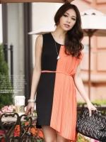 ชุดเดรสแฟชั่น ชุดเดรสสั้น สีส้มดำ คอกลม แขนกุด เป็นเดรสทรงปล่อยใส่สบาย (ใหม่ พร้อมส่ง) ร้าน Ladyshop4u