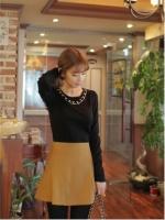 เสื้อยืดแฟชั่นเกาหลี เื้สื้อใส่เที่ยว เืสื้อลำลอง แขนยาว แต่งสายโซ่ สีดำ (ใหม่ พร้อมส่ง) ร้าน LadyShop4U