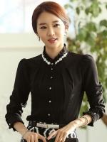 (สีดำ ) เสื้อทำงานแฟชั่นเกาหลีออฟฟิศ คอจีน แขนยาวสีดำ ผ้าชีฟอง คอประดับมุข เสื้อดำออกงาน (ใหม่ พร้อมส่ง) ร้าน LadyShop4U