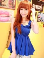 เสื้อน่ารัก เปิดไหล่ ผ้าชีฟอง สีน้ำเงิน(สินค้าใหม่ พร้อมส่ง) ร้าน Ladyshop4u