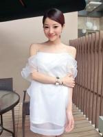 (สีขาว) ชุดเดรสแซกสั้นแฟชั่นเกาหลี สายเดี่ยว ช่วงคอเป็นระบาย2ชั้น ผ้าแก้ว ตัวในเป็นผ้าคอตตอนยืดเข้ารูป ซิปหลัง (ใหม่ พร้อมส่ง) LadyShop4u