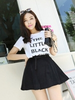 (สีดำ)กระโปรงสั้นแฟชั่นเกาหลี สวิง ผ้าลูกฟูก เอวยืด พร้อมเข็มขัด (ใหม่ พร้อมส่ง) ladyshop4U