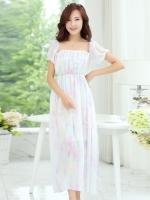(สีขาว) ไซส์ L ชุดเดรสแซกยาวแฟชั่นเกาหลีชุดไปเที่ยวทะเลสวยๆ เดรสยาวโทนสีขาวม่วง แขนสั้น เม็กซี่เดรส (Maxi Dress) ชุดเดรสเที่ยวทะเล สีขาว คอกลม แขนกุด (ใหม่ พร้อมส่ง) ร้าน Ladyshop4u