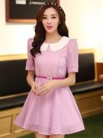 (สีม่วง)ชุดเดรสแซกสั้นแฟชั่นเกาหลี คอปก แขนสั้น กระโปรงบาน มีซับใน พร้อมเข็มขัดสีชมพู (ใหม่ พร้อมส่ง) ร้าน Ladyshop4u