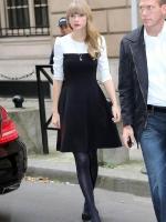(สีขาวดำ)ชุดเดรสแซกสั้นทำงานสไตล์ยุโรป Taylor Swift ผ้ายืดเนื้อผ้านุ่ม ซิปหลังใส่สบาย (ใหม่ พร้อมส่ง)ร้าน LadyShop4U
