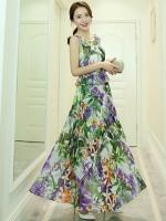 (โทนสีเขียวม่วง) ไซส์ L ชุดเดรสแซกยาวแฟชั่นเกาหลีชุดไปเที่ยวทะเลสวยๆ เดรสยาวโทนสีเขียว ม่วง แขนกุด พิมพ์ลายดอกไม้ แขนกุด เอวแต่งระบาย เม็กซี่เดรส (Maxi Dress) ชุดเดรสเที่ยวทะเล สีขาว คอกลม แขนกุด (ใหม่ พร้อมส่ง) ร้าน Ladyshop4u