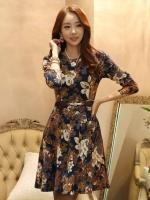 (สีน้ำตาล) ชุดเดรสแซกสั้นแฟชั่นเกาหลี คอกลม แขนยาว ลายดอก ผ้ายืดนุ่ม ไปงานแต่ง งานบวช (ใหม่ พร้อมส่ง) ร้าน Ladyshop4u