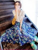 กระโปรงยาว ผ้าชีฟอง สีน้ำเงิน พิมพ์ลายดอก (ใหม่ พร้อมส่ง) ladyshop4U