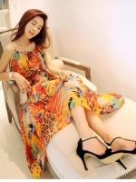 Pre order (สีส้ม) ชุดเดรสแซกยาวเที่ยวทะเล ชุดไปทะเล มินิเดรส สายเดี่ยว ผ้าชีฟอง (ใหม่ พรีออเดอร์) ร้าน LadyShop4u
