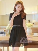 ชุดเดรสสั้นแฟชั่นเกาหลีน่ารัก ชุดออกงาน สีดำ เสื้อผ้าลูกไม้ คอกลม แขนสั้น เอวแต่งโบว์ กระโปรงผ้าชีฟองอัดพลีท ซิปข้าง มีซัใบใน(ใหม่ พร้อมส่ง) ร้าน Ladyshop4u