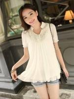 (สีขาว) เสื้อชีฟองแฟชั่น สีขาว คอปก แต่งผ้าลูกไม้ จั๊มแขนตุ๊กตา เสื้อแบบปล่อย ใส่สบาย ๆ (ใหม่ พร้อมส่ง) ร้าน LadyShop4U