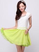 (สีเขียว) ชุดเดรสสั้น แฟชั่นเกาหลั น่ารัก สีเขียว เสื้อลูกไม้ สีขาว แขนสั้น กระโปรงสั้นชีฟอง ซิปข้าง (ใหม่ พร้อมส่ง) ร้าน Ladyshop4u