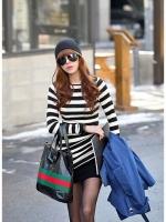 เสื้อแฟชั่น เสื้อทำงาน เสื้อลำลอง เสื้อใ่ส่เที่ยว สีดำแถบขาว แขนยาว คอกลม (ใหม่ พร้อมส่ง) Ladyshop4u
