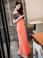 Pre order (สีส้ม)ชุดเดรสแซกยาว เสื้อผ้ายืดสีม่วง กระโปรงผ้าชีฟองบานสีส้ม โชว์ไหล่ เอวเข้ารูป ชุดเดรสแฟชั่น ชุดเดรสเกาหลี(ใหม่ พรีออเดอร์) ร้าน Ladyshop4u