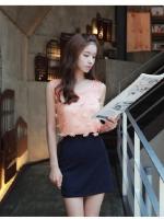 เสื้อแฟชั่นเกาหลี เสื้อทำงาน เสื้อลำลอง เสื้อคอกลม แขนกุด สีส้ม เย็บแต่งดอกไม้ด้านหน้า (ใหม่ พร้อมส่ง) LadyShop4U