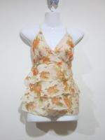 (สีส้ม)เสื้อแฟชั่นไปทะเล สายเดี่ยวเลือนได้ ผ้าคอตตอล+ลายดอก(โปร่ง) เซ็กซี่ ด้านหลังเป็นยางยืด เข้ารูป (ใหม่ พร้อมส่ง) ร้าน LadyShop4U