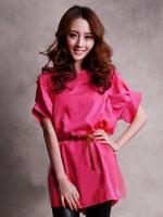 เสื้อยืดแฟชั่น เสื้อยืดเกาหลี สีชมพูบานเย็น คอกลม แขนสั้น (ใหม่ พร้อมส่ง) ร้าน Ladyshop4u