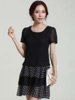 (สีดำ)ชุดเดรสแซกสั้นแฟชั่นเกาหลี ชุดออกงาน สีดำ คอกลม แขนสั้นผ้าชีอง กระโปรงระบายเป็นชั้น ๆสลับลายจุดขาว (ใหม่ พร้อมส่ง) ร้าน Ladyshop4u