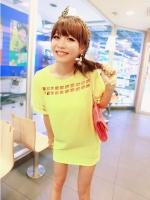 Mini Dress (สีเหลือง) เดรสสั้น เดรสทำงาน เดรสออกงาน ทรงกระบอก สีเหลือง คอกลม แขนสั้นและด้านหน้าฉลุเป็นตารางสีเหลี่ยม (ใหม่ พร้อมส่ง) ร้าน Ladyshop4U