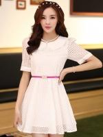 (สีขาว)ชุดเดรสแซกสั้นแฟชั่นเกาหลี คอปก แขนสั้น กระโปรงบาน มีซับใน พร้อมเข็มขัดสีชมพู (ใหม่ พร้อมส่ง) ร้าน Ladyshop4u
