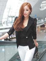 Pre Order (สีดำไซส์ L)เสื้อสูทคลุมนำเข้าเกาหลี แขนยาวผ้าลูกไม้ เข้ารูป คอปก กระดุมหน้า (ใหม่ พรีออเดอร์) ร้าน Ladyshop4u