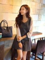 (สีเทา) ชุดเดรสแซกสั้นแฟชั่นเกาหลี เดรสสีเทา แขนยาวสีขาวผ้าชีฟองปลายแขนสีเทา เข้ารูป ผ้ายืด ซิปข้าง (ใหม่ พร้อมส่ง) ร้าน Ladyshop4u