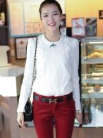 (สีขาว)เสื้อแฟชั่นเกาหลีทำงานออฟฟิศ ด้านหน้าเป็นผ้าลูกไม้ คอกลม เสื้อเป็นผ้ามัน ประดับพลอยที่คอ ซิปหลังครึ่งตัว เสื้อสีขาว ( ใหม่ พร้อมส่ง) ร้าน LadyShop4U