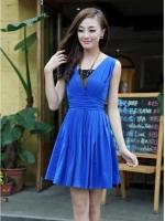 Pre Order (สีน้ำเงิน)ชุดเดรสแซกสั้นแฟชั่นออกงานเกาหลี ชุดทำงาน คอวี แขนกุด ซิปหลัง ซับในสีน้ำเงิน ผ้าคอตตอน กระโปรงบานจับจีบรอบ (ใหม่ พรีออเดอร์) ร้าน Ladyshop4U