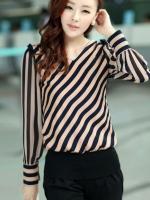 (สีำตามรูป)เสื้อผ้าแฟชั่นเกาหลีทำงานออฟฟิศ สีตามรูปค่ะ ลายเฉียงสลับดำ คอวี แขนยาว ผ้าชีฟอง( ใหม่ พร้อมส่ง) ร้าน LadyShop4U