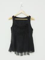 เสื้อแขนกุด ผ้าชีฟองสีดำ แต่วระบายด้านหน้า (ใหม่ พร้อมส่ง) ร้าน Ladyshop4u