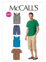 แพทเทิร์นตัดเสื้อยืดกระดุมหน้าชาย เสื้อกล้ามชาย McCall's (6973) ไซส์ 34-44