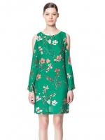(สีเขียว) ชุดเดรสแซกสั้นแฟชั่นทำงานสไตล์ยุโรป คอกลม เว้าไหล่ แขนยาว ลายดอก ผ้าีชีฟอง (ใหม่ พร้อมส่ง) ร้าน LadyShop4u
