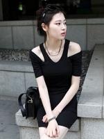 Pre order (สีดำ) ชุดเดรสแซกสั้นออกงานแฟชั่นเกาหลี ผ้ายืด สีดำ เว้วไหล่ แขนสั้น เซ็กซี่ (ใหม่ พรีออเดอร์) ร้าน Ladyshop4u