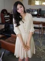 ชุดทำงานแฟชั่นเกาหลี ผ้าชีฟอง สีมุก แต่งกระดุมด้านหน้า แขนสามส่วน (ใหม่ พร้อมส่ง) ร้าน Ladyshop4u
