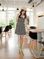 เดรสสั้น สีดำ เดรสทำงาน เดรสน่ารัก เดรสแฟชั่น เดรสชีฟอง ลายจุดขาว แขนกุด เอวจั้ม คอบัว (ใหม่ พร้อมส่ง) ร้าน Ladyshop4u