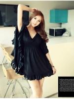 Pre order (สีดำ) ชุดเดรสแซกสั้นแฟชั่นเกาหลี ออกงาน สีดำ คอวี แขนปีกค้างคาวแต่งระบาย ช่วงไหล่เป็นผ้าลูกไม้ ยางยืดใต้อกและรอบตัวเข้ารูป (ใหม่ พรีออเดอร์)ร้าน LadyShop4U