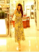 Pre order (สีเหลือง)ชุดเดรสแซกยาวแฟชั่นเกาหลีนำเข้า ผ้าชีฟอง คอกลม แขนกุด มีซับใน (ใหม่ พรีออเดอร์) ร้าน Ladyshop4u
