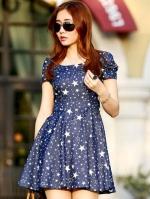 Pre Order (สีน้ำเงิน)ชุดเดรสแฟชั่น สไตล์สาวเกาหลี สีน้ำเงินลายดาวสีขาว คอกลม แขนสั้น เอวเข้ารูป กระโปรงบาน (ใหม่ พรีออเดอร์) ร้าน Ladyshop4u