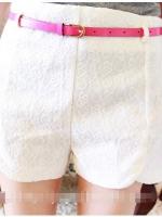 กางเกงแฟชั่น กางเกงออกด้านนอก กางเกงเกาหลี กางเกงขาสั้น เอวสูง ปักลาย สีขาว สวย ดูดี น่ารัก (ใหม่ พร้อมส่ง) Ladyshop4U
