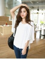 Pre order (สีขาว) เสื้อแฟชั่น เสื้อปีกค้างคาว คอกลม (ใหม่ พรีออเดอร์)ร้าน LadyShop4U