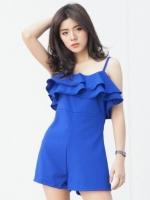 (สีน้ำเงิน)ชุดเดรสแซกสั้นแฟชั่นเกาหลีน่ารัก จั๊มสูทกางเกงขาสั้น สายเดี่ยว ช่วงอกเป็นระบาย ซิปหลัง ผ้าโพลีเอสเตอร์ (ใหม่ พร้อมส่ง) ร้าน Ladyshop4u