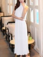 Pre order (สีขาว)ชุดเดรสแซกยาวแฟชั่นเกาหลีนำเข้า สีขาว ผ้าชีฟอง แขนกุด มีสร้อย กระโปรงพลีท มีซับใน (ใหม่ พรีออเดอร์) ร้าน Ladyshop4u