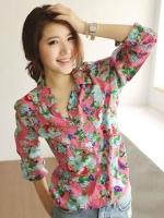 (สีชมพู)เสื้อเชิ้ตทำงานแฟชั่นเกาหลี เสื้อเที่ยวทะเล แขนยาว คอปก กระดุมหน้า กระเป๋าหน้า ลายดอกไม้น่ารัก สวมใส่สะบาย (ใหม่ พร้อมส่ง) ร้าน LadyShop4U