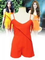เสื้อผ้าแบบดารา จั๊มสูทกางเกงขาสั้นตามแบบที่วุ้นเส้นและโฟร์ ศกลรัตน์ใส่คะ เดรสสีส้ม ผ้าชีฟอง สายเดี่ยว สายปรับได้ คล้องไหล่ หน้าอกสม๊อกยางยืดด้านหลัง ซิปข้าง (ใหม่ พร้อมส่ง)ร้าน LadyShop4U