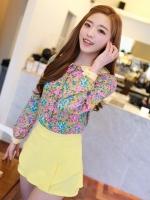 กางเกงกระโปรงสั้น ผ้าชีฟอง เนื้อทราย สีเหลือง กางเกงกระโปรงแฟชั่นเกาหลี กระโปรงทำงาน (ใหม่ พร้อมส่ง)ร้าน Ladyshop4u
