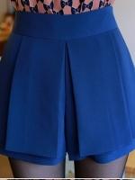 (สีน้ำเงิน )กางเกงขาสั้น แฟชั่นเกาหลี กระโปรงกางเกง ซิปข้าง สีน้ำเงิน(ใหม่ พร้อมส่ง)ร้าน Ladyshop4u