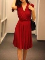 ชุดเดรสทำงานแฟชั่น สีแดง ผ้าชีฟอง คอวี แขนกุด กระโปรงบานเอวยางยืด มีซับใน (ใหม่ พร้อมส่ง) ร้าน Ladyshop4u