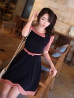 เดรสแฟชั่น เดรสทำงาน เดรสสั้นเกาหลี แขนสั้นจับเดรปสีส้มอิฐตัดต่อสีดำเข้ารูปเอว+เข็มขัด (ใหม่ พร้อมส่ง) ร้าน LadyShop4u